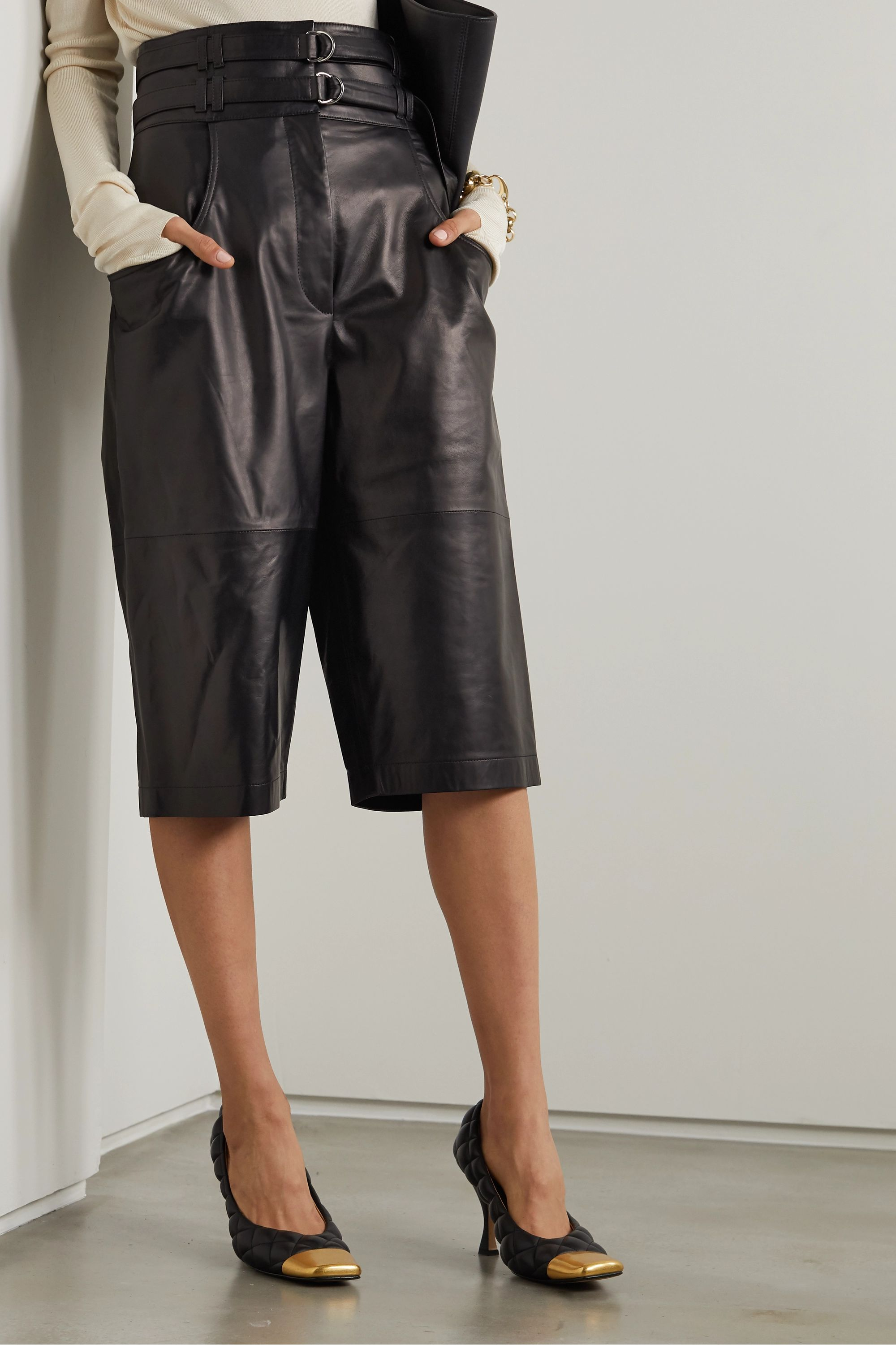 Proenza Schouler Belted leather shorts