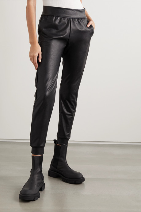 Faux leather tapered track pants