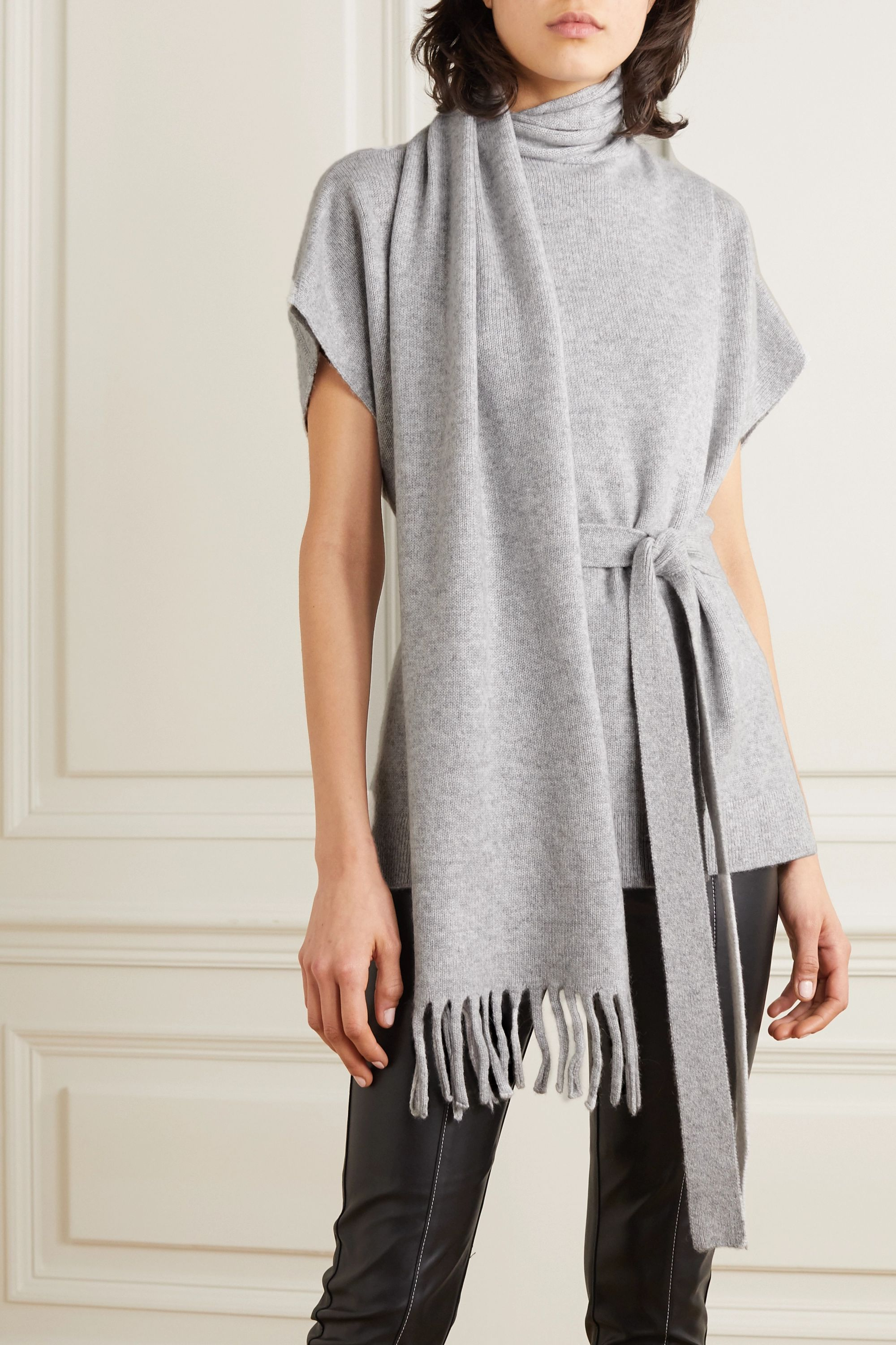 Proenza Schouler Belted draped cashmere sweater
