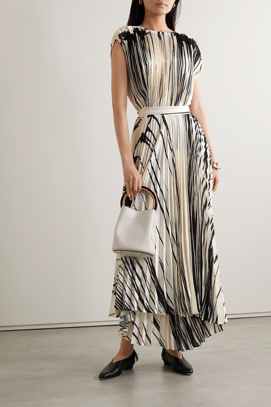 Proenza Schouler Pleated printed crepe wrap maxi dress