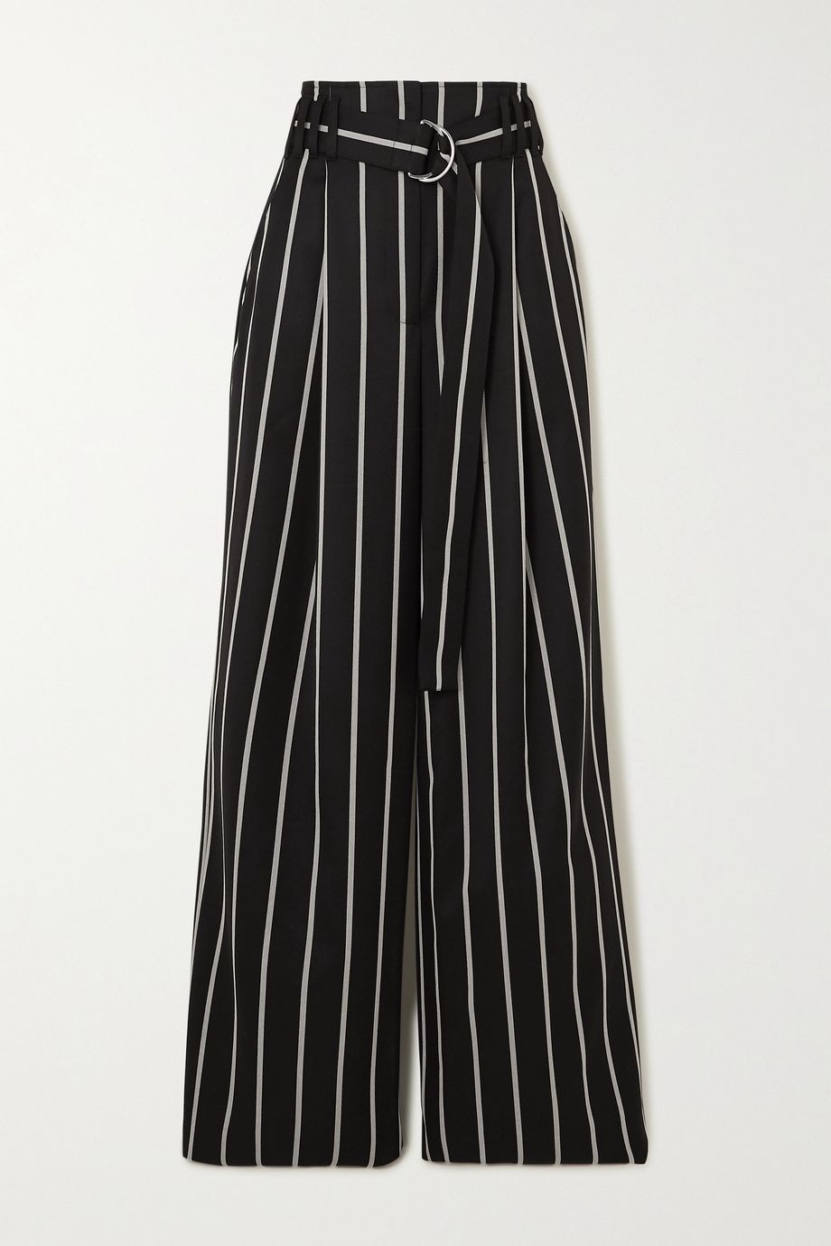 Proenza Schouler Belted striped wool-twill wide-leg pants