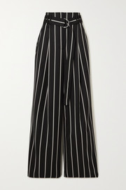 Belted striped wool-twill wide-leg pants