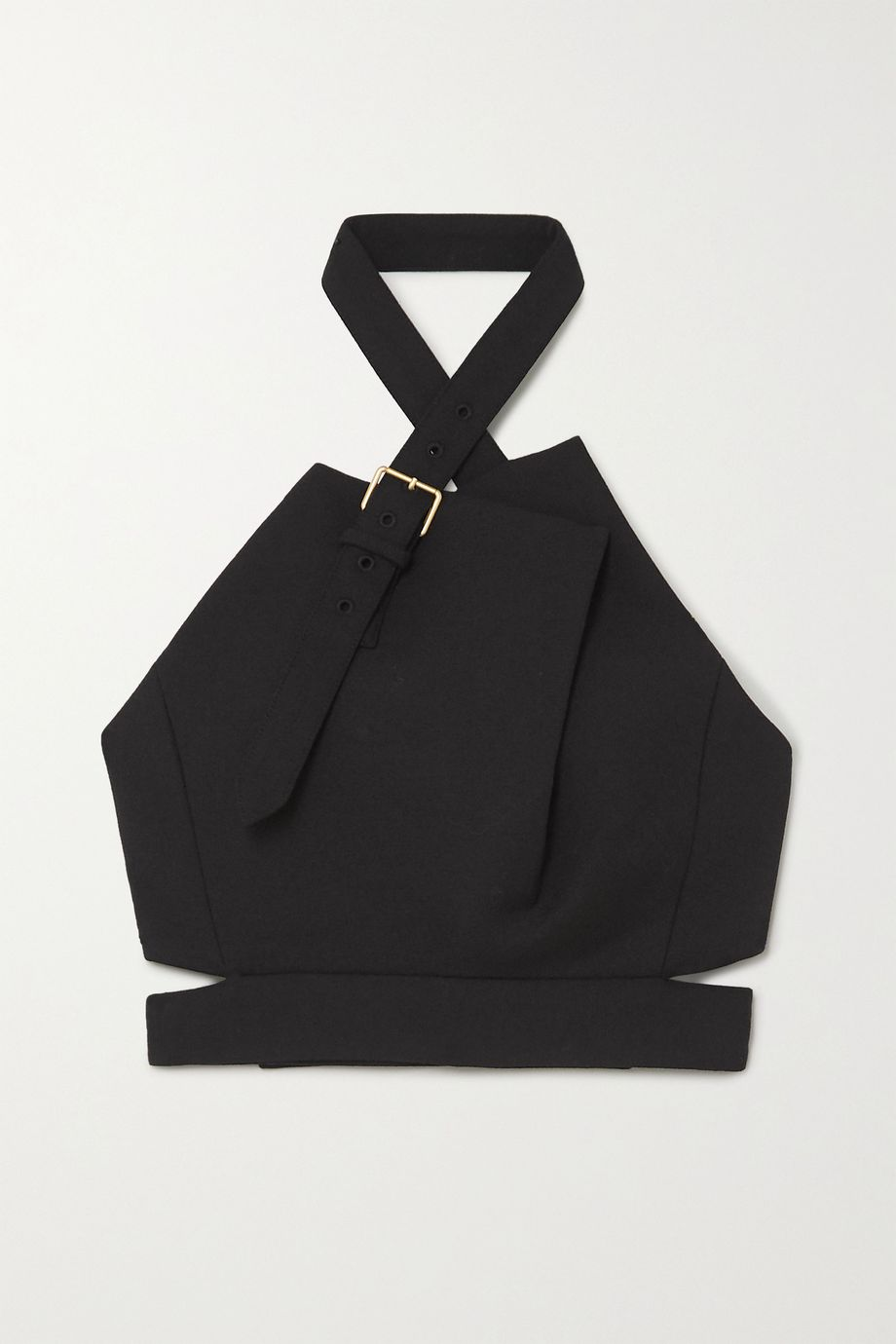 Proenza Schouler Cropped buckled wool-blend halterneck top