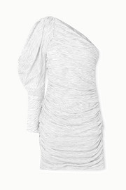 Redemption One-sleeve ruched glittered zebra-print silk-blend mini dress