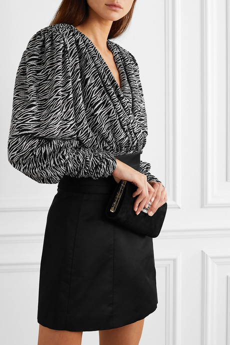 Ruched glittered zebra-print tulle wrap top
