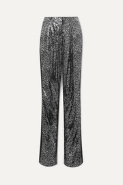 Redemption Satin-trimmed leopard-print sequined tulle straight-leg pants