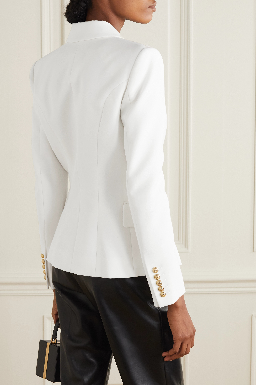 Balmain 双排扣羊毛斜纹布西装外套