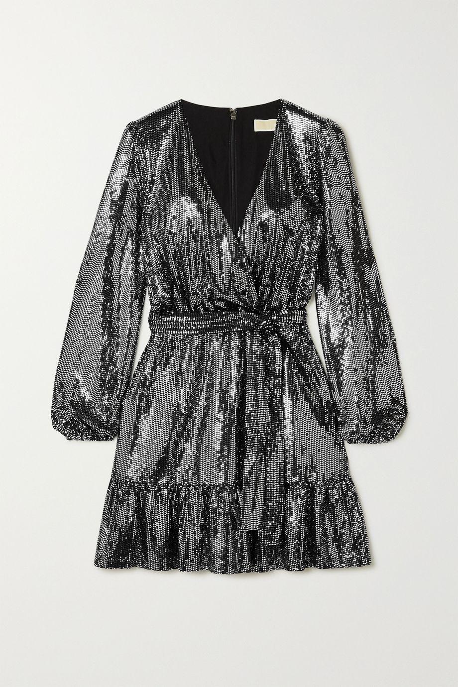 마이클 마이클 코어스 스트레치 저지 원피스 Michael Michael Kors Wrap-effect sequined stretch-jersey dress,Silver