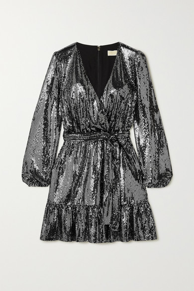 Wrap Effect Sequined Stretch Jersey Dress by Michael Michael Kors
