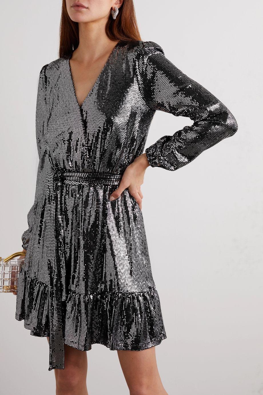 MICHAEL Michael Kors Wrap-effect sequined stretch-jersey dress