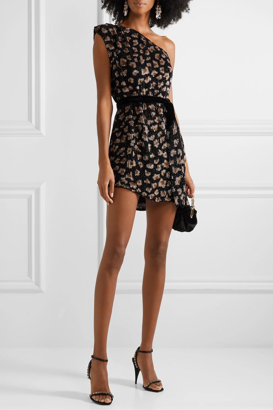 Retrofête Mini-robe asymétrique en mousseline à sequins et à finitions en velours Ella