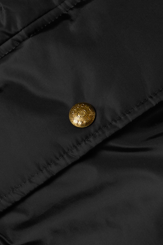 Gucci Doudoune à capuche en tissu technique et en duvet à finitions en jacquard