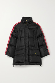 Gucci Hooded jacquard-trimmed quilted shell down coat