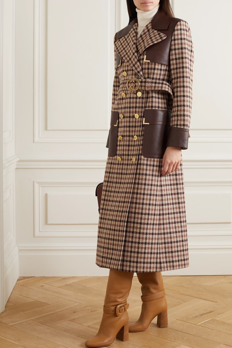Belted leather-paneled checked wool-blend trench coat
