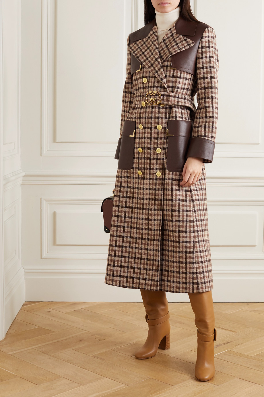 Gucci Belted leather-paneled checked wool-blend trench coat