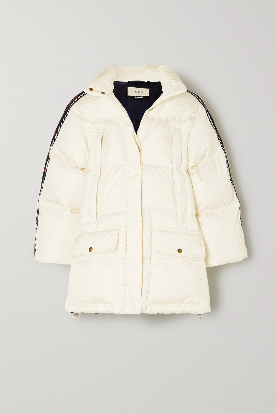 Gucci Oversized webbing-trimmed quilted shell down jacket