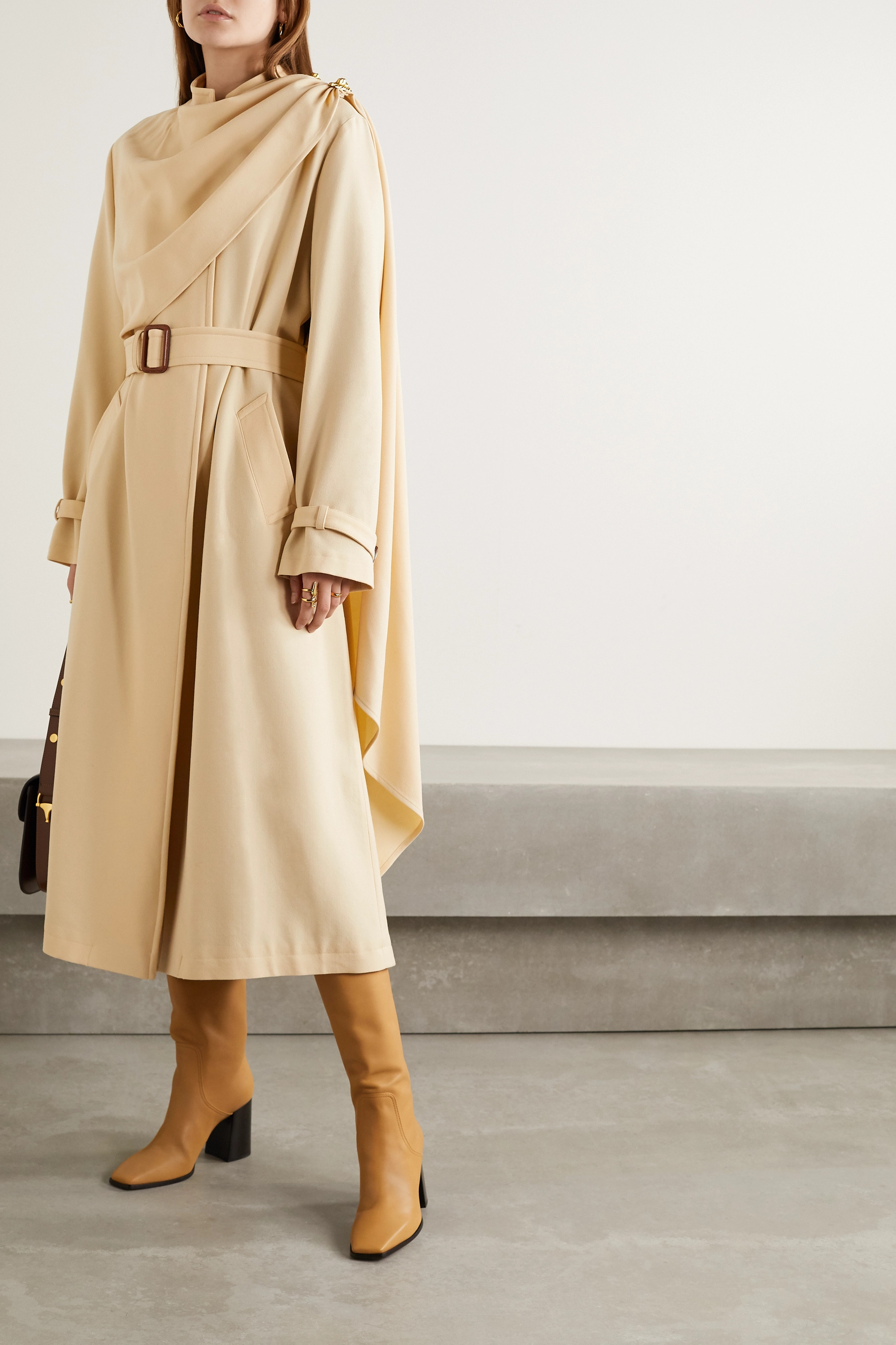 Gucci Belted draped layered wool trench coat