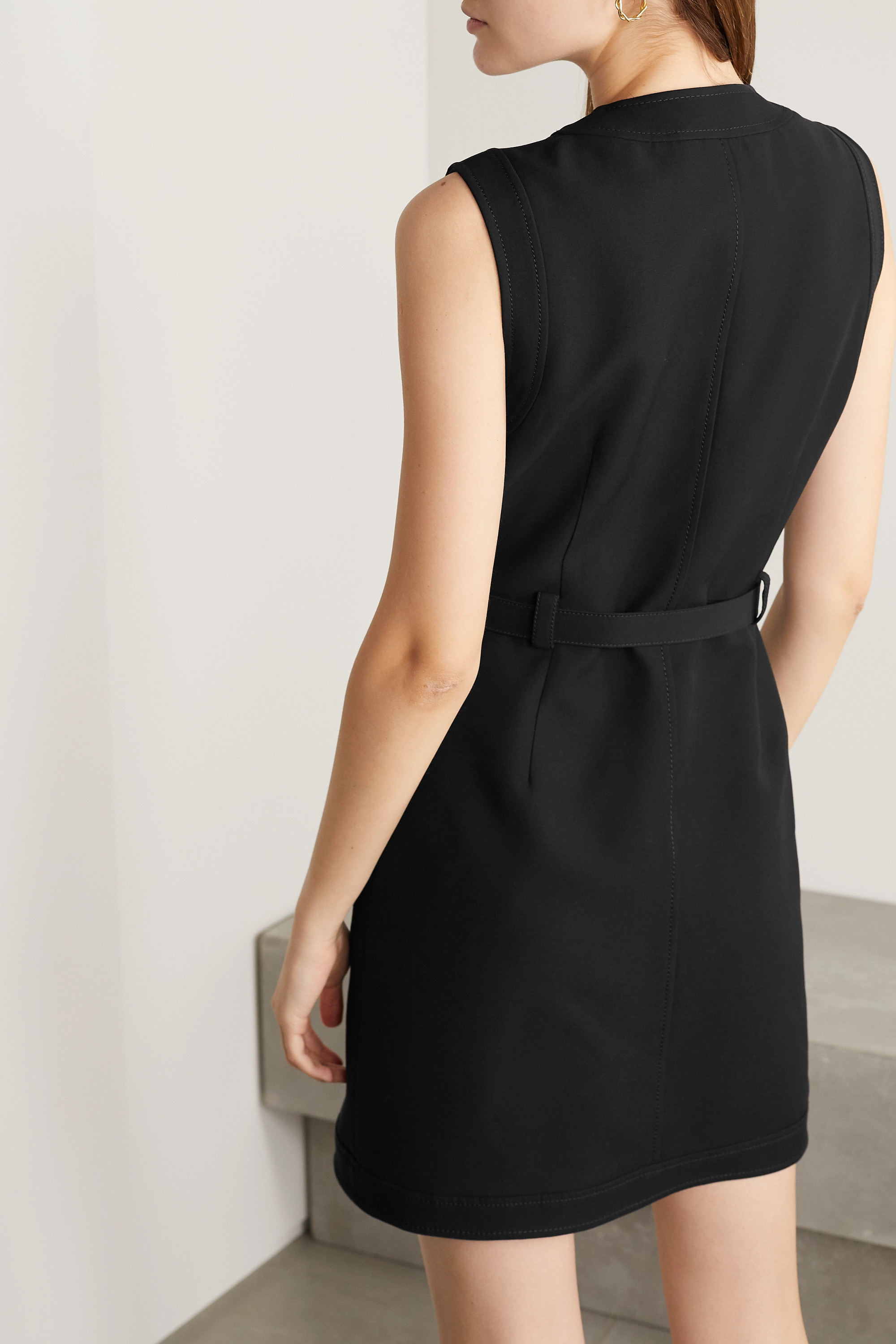 Gucci Belted silk and wool-blend cady mini dress