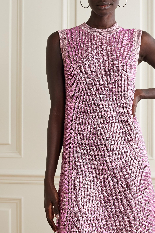 Gucci Crystal-embellished metallic knitted mini dress