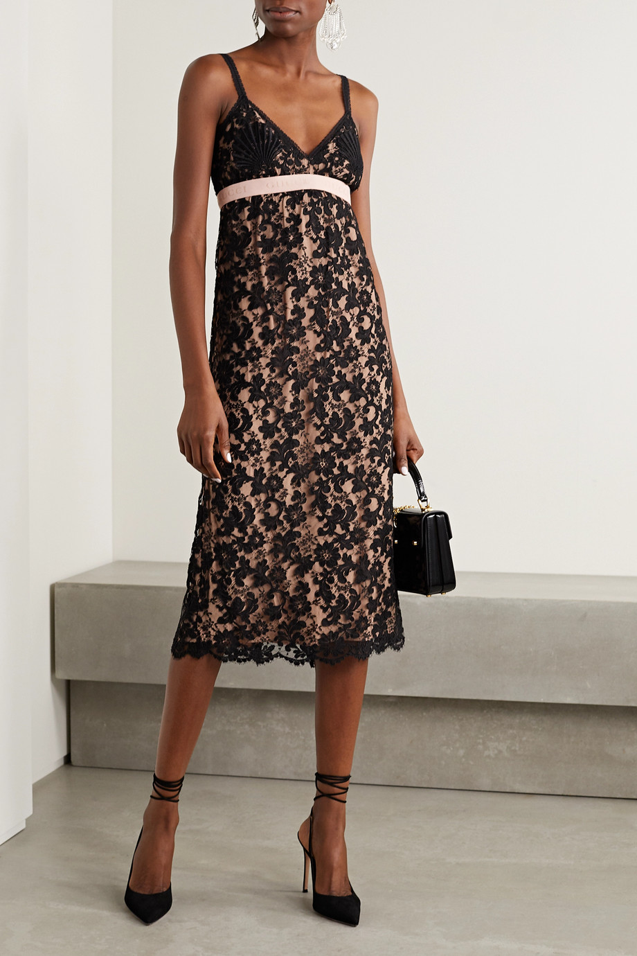 Gucci Jacquard-trimmed corded lace dress