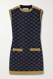 Gucci Button-embellished metallic wool-blend jacquard mini dress