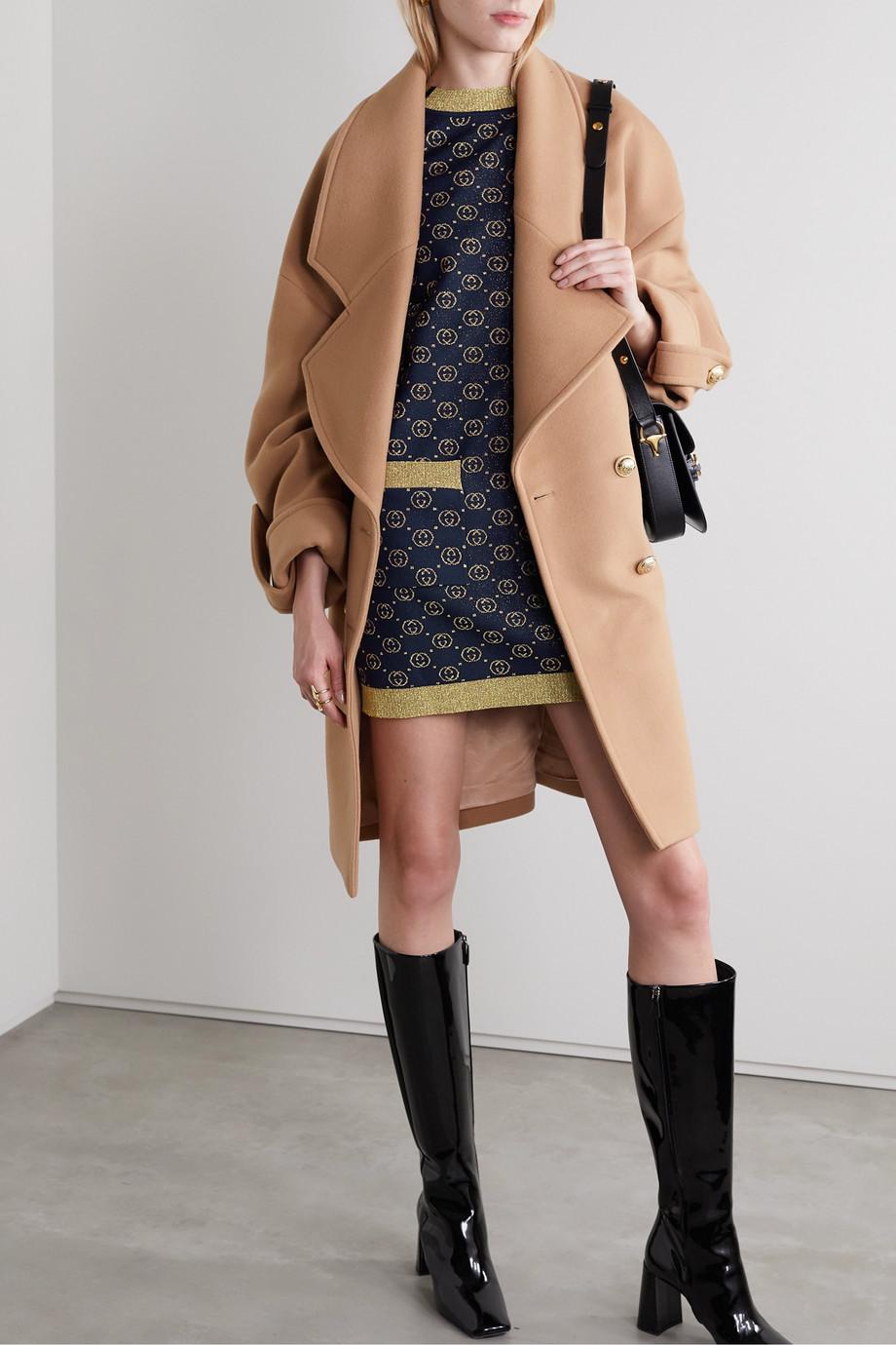 Gucci Button-embellished metallic wool-blend jacquard mini dress