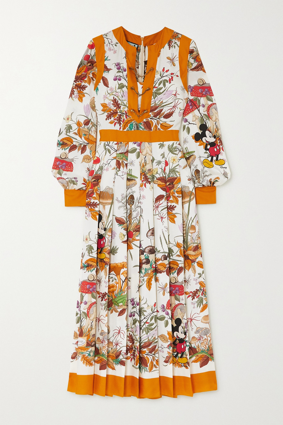 Gucci + Disney chain-embellished pleated printed silk-twill midi dress