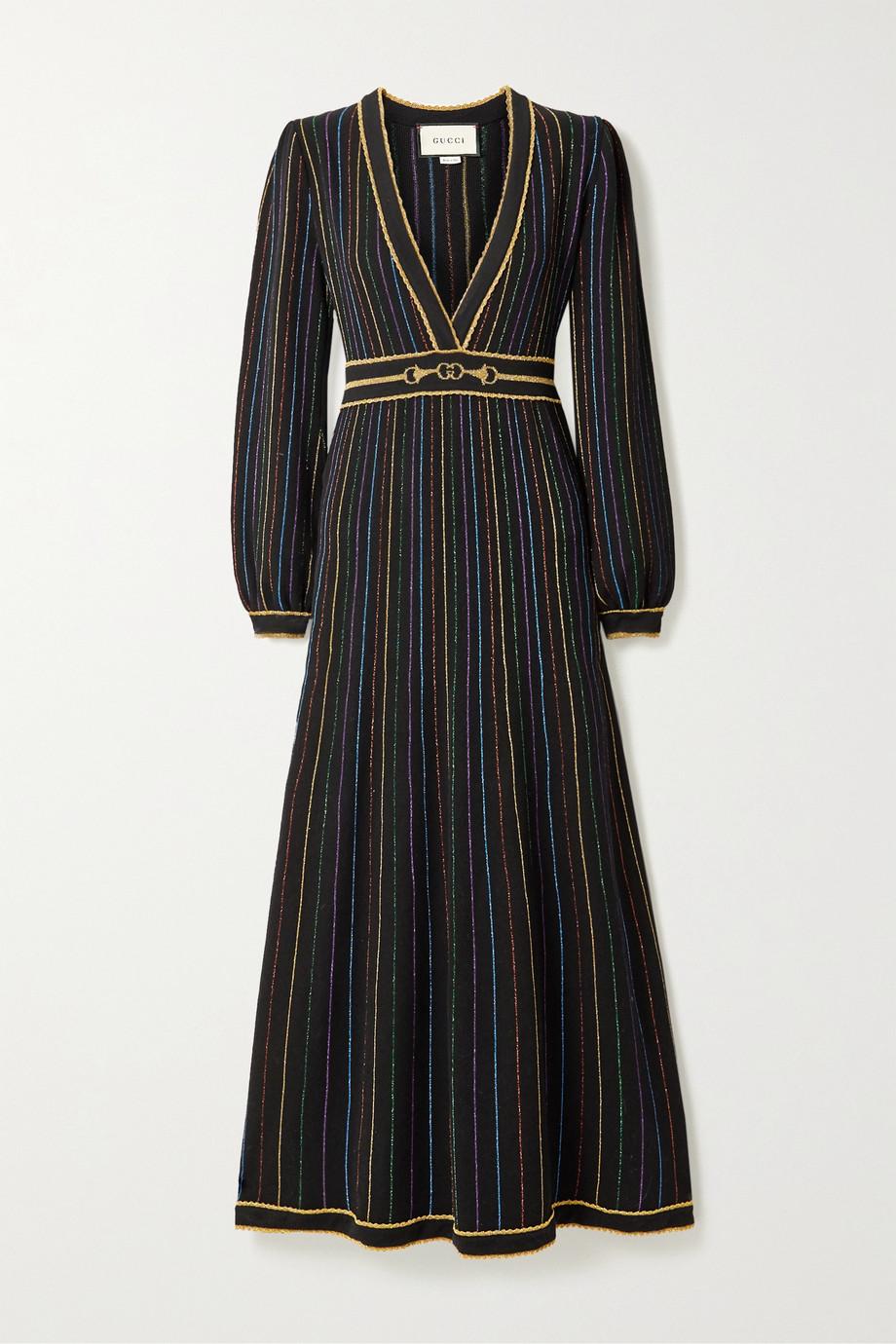 Gucci Metallic intarsia wool-blend maxi dress
