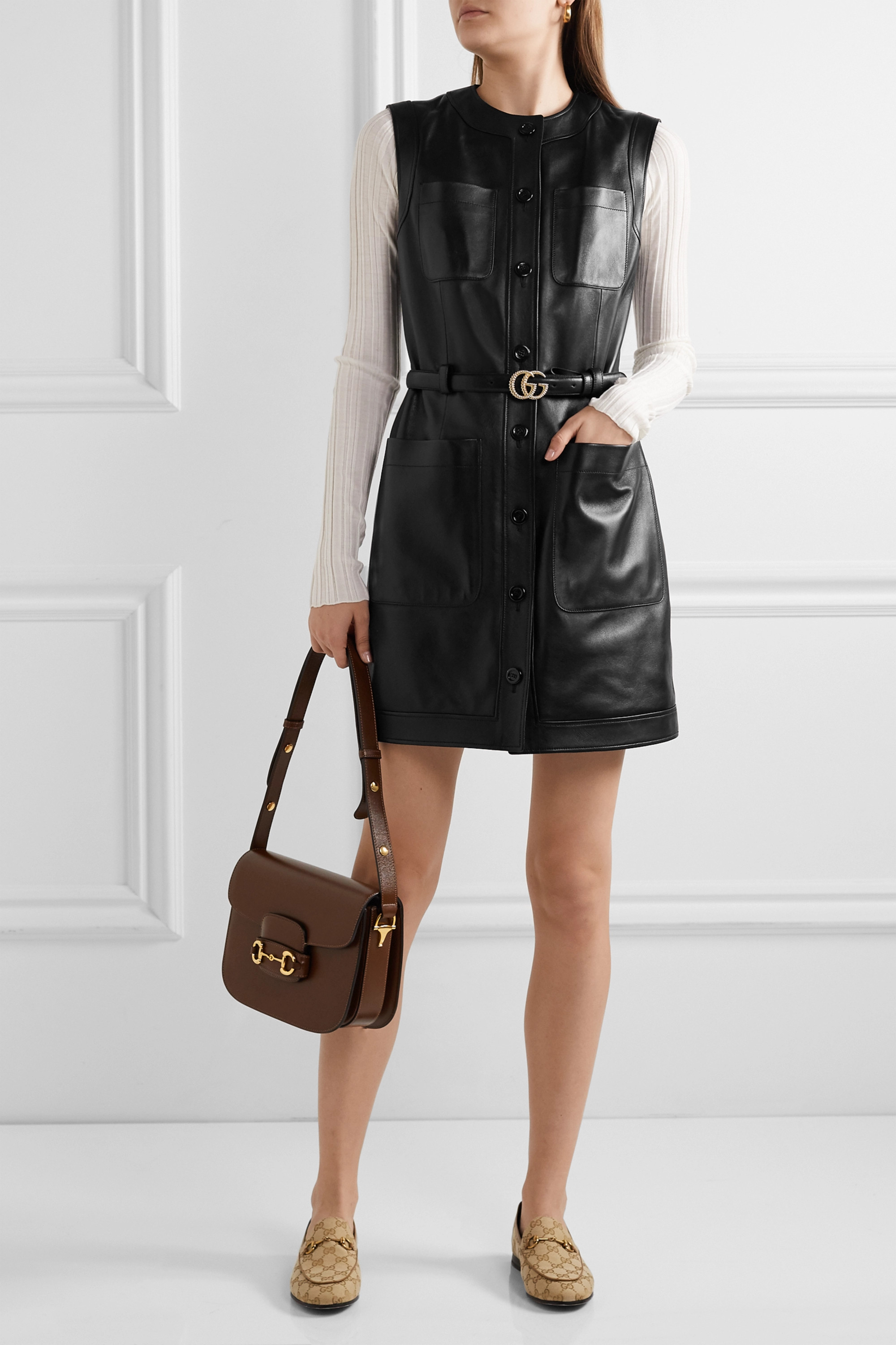 Gucci Belted leather mini dress