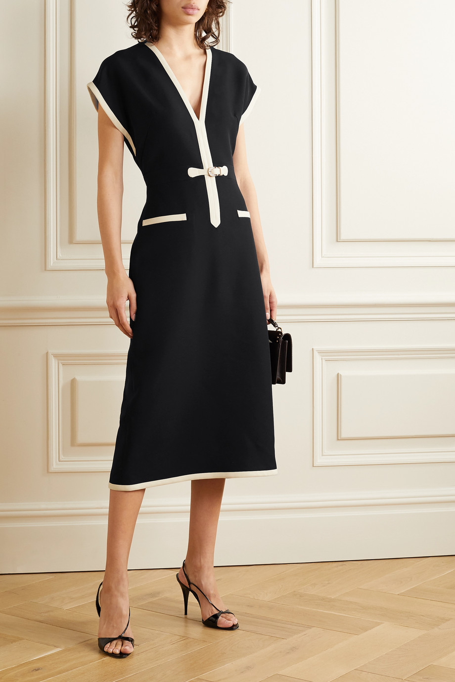 Gucci Two-tone silk and wool-blend cady midi dress
