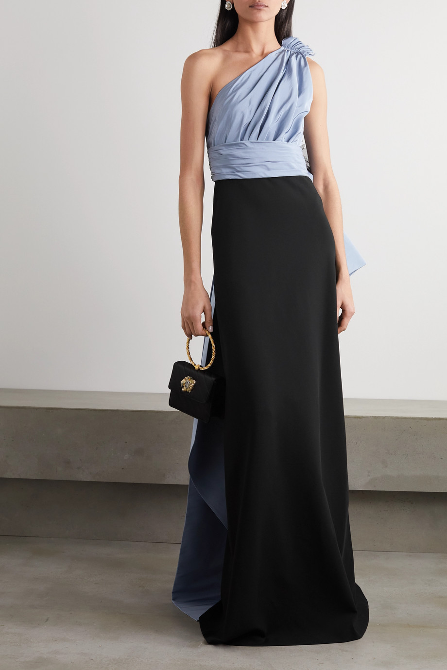 Gucci One-shoulder tulle-trimmed draped matte-satin gown