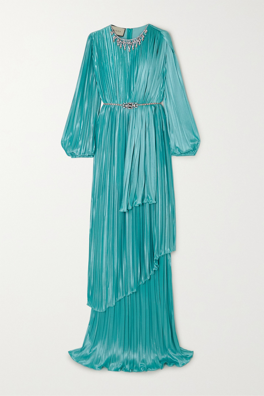 Gucci Crystal-embellished pleated satin gown