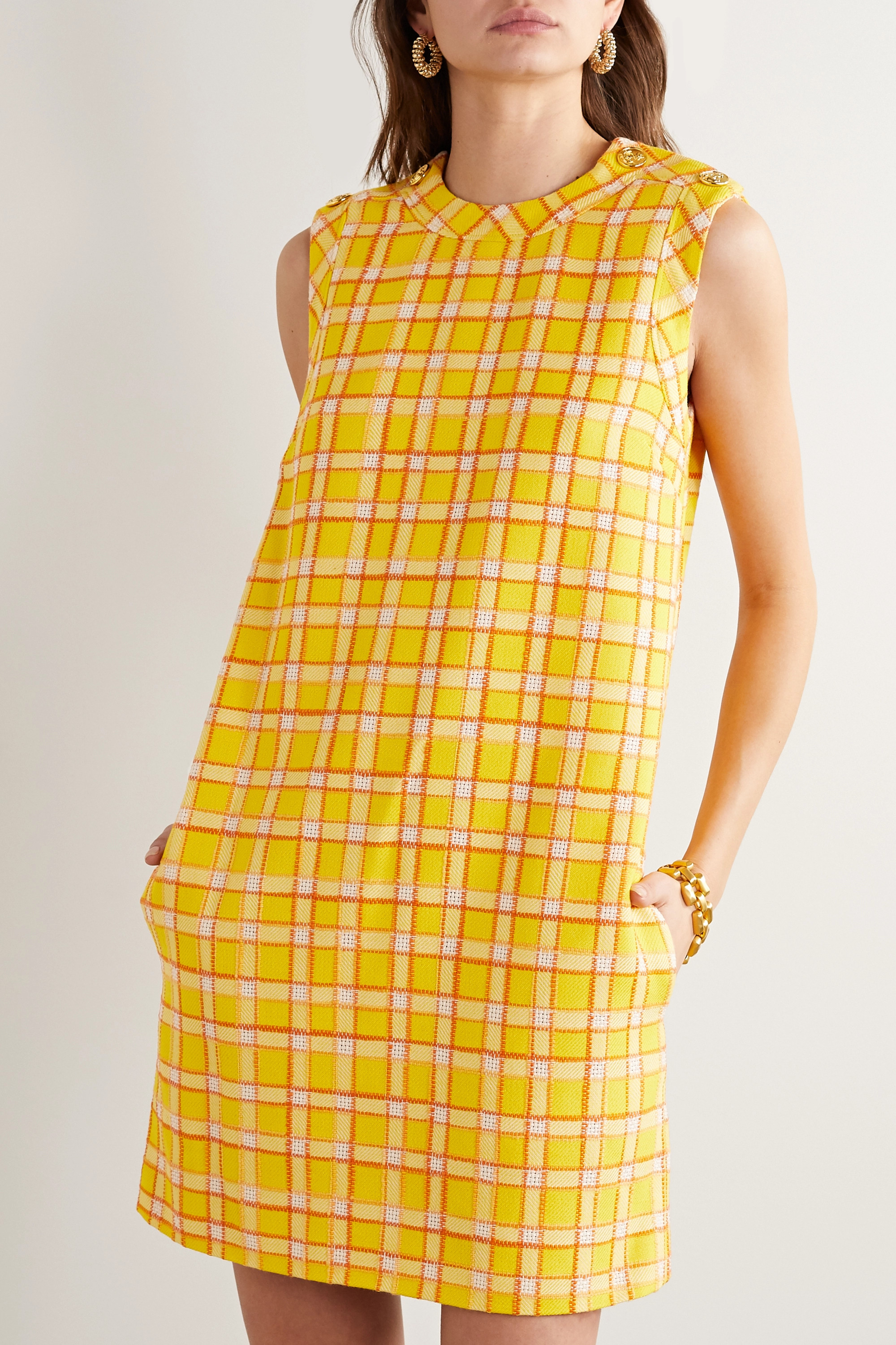 Gucci Button-embellished checked wool-tweed mini dress