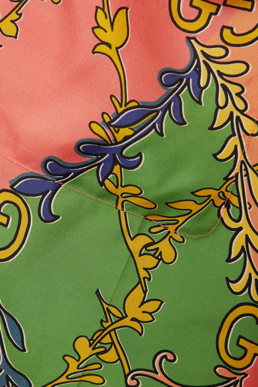 Gucci Belted printed silk-twill shirt dress