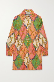 Gucci Belted printed silk-twill shirt dress