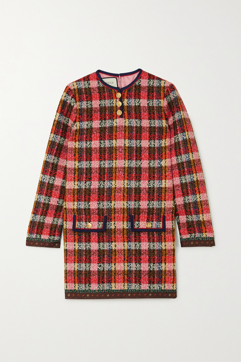Gucci Silk-trimmed checked wool-blend tweed mini dress