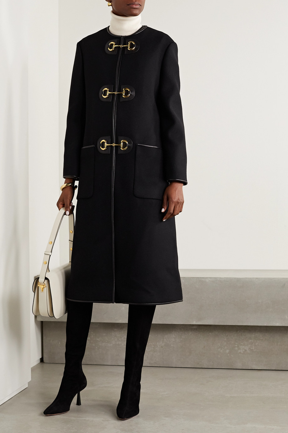 Gucci Leather-trimmed wool-blend coat