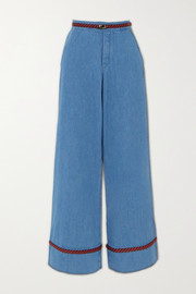 Gucci Braided high-rise wide-leg jeans