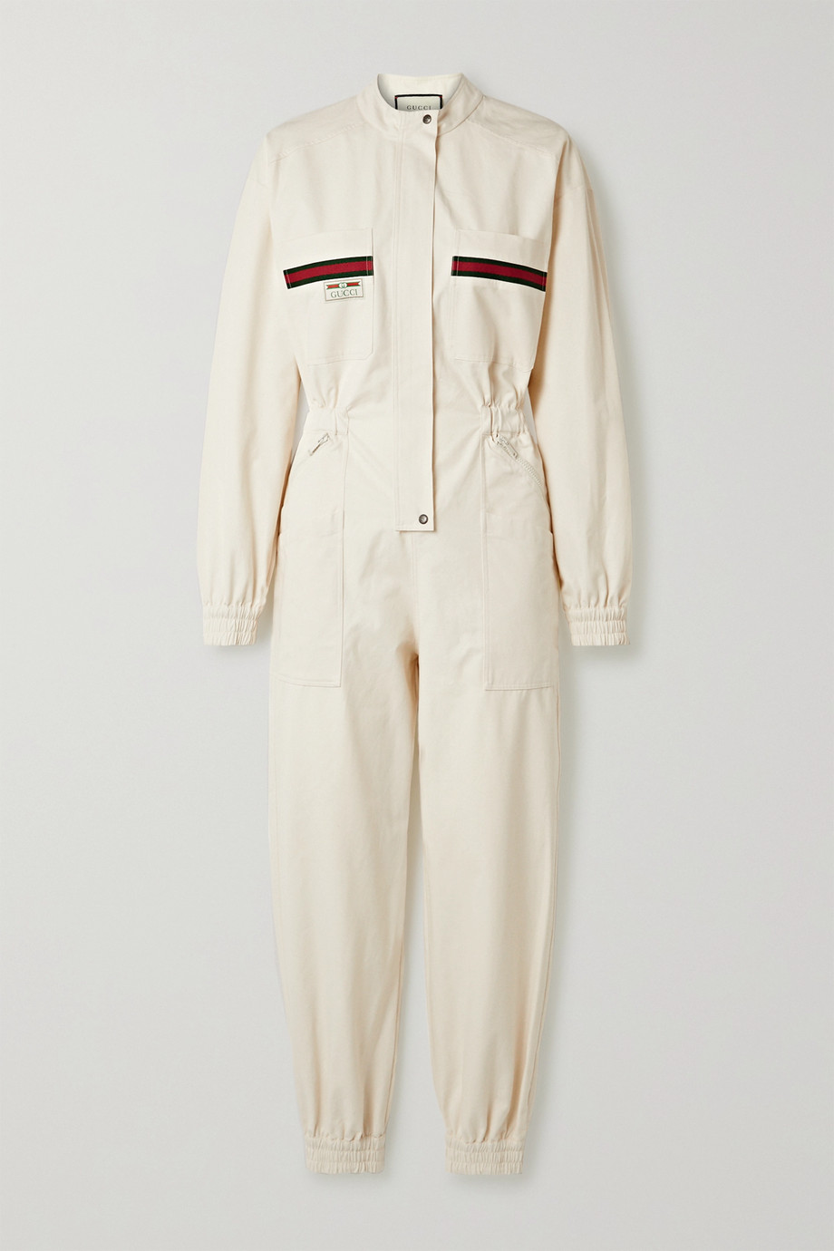 Gucci Appliquéd grosgrain-trimmed cotton jumpsuit