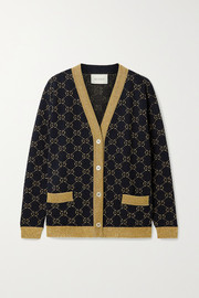 Gucci Metallic intarsia cotton-blend cardigan