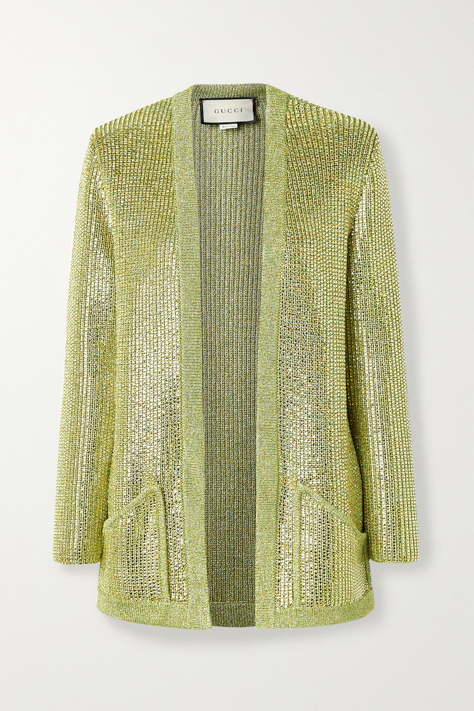Gucci 水晶缀饰金属感针织开襟衫