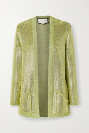 Gucci Crystal-embellished metallic knitted cardigan