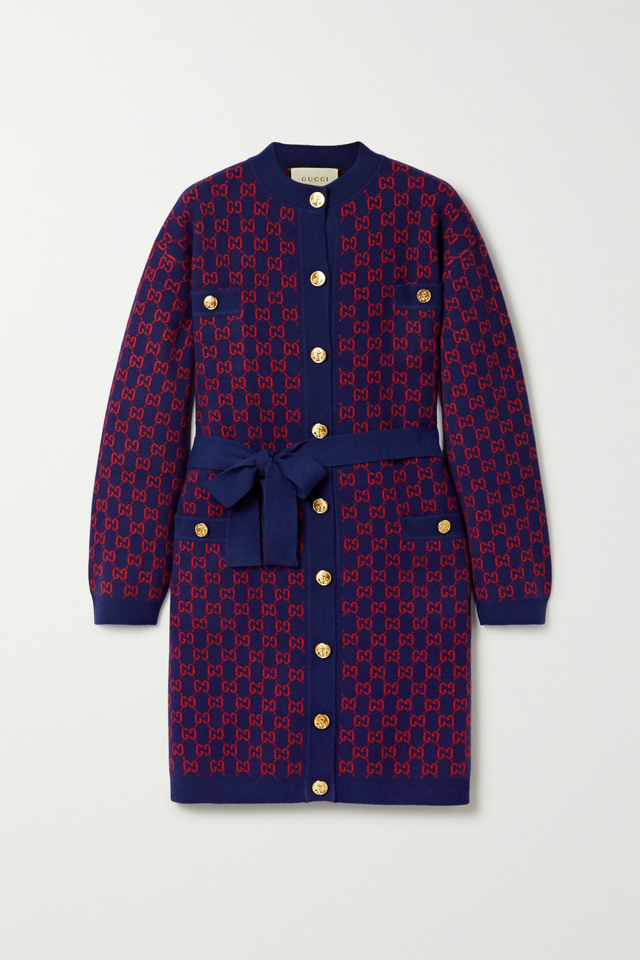 Gucci Belted wool-jacquard cardigan
