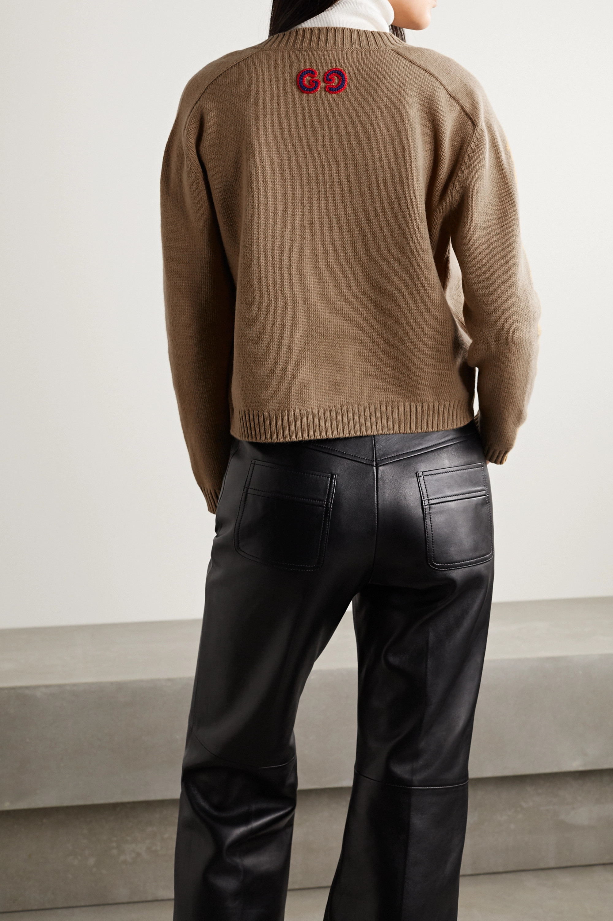 Gucci Embroidered cable-knit wool sweater