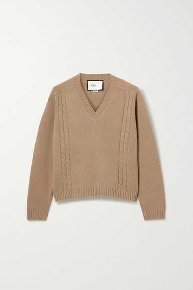 Embroidered Cable Knit Wool Sweater by Gucci
