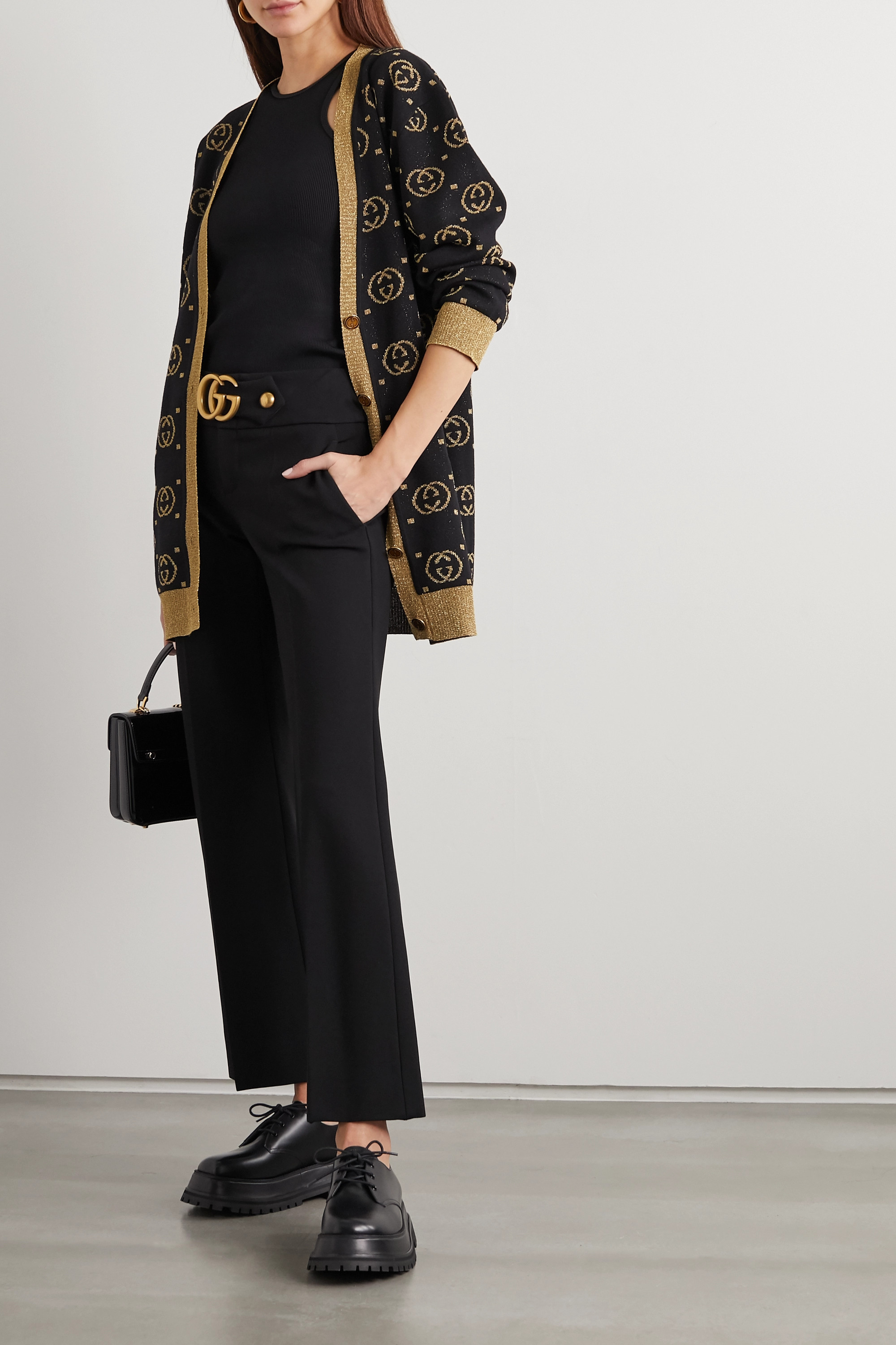 Gucci Oversized metallic intarsia wool-blend cardigan
