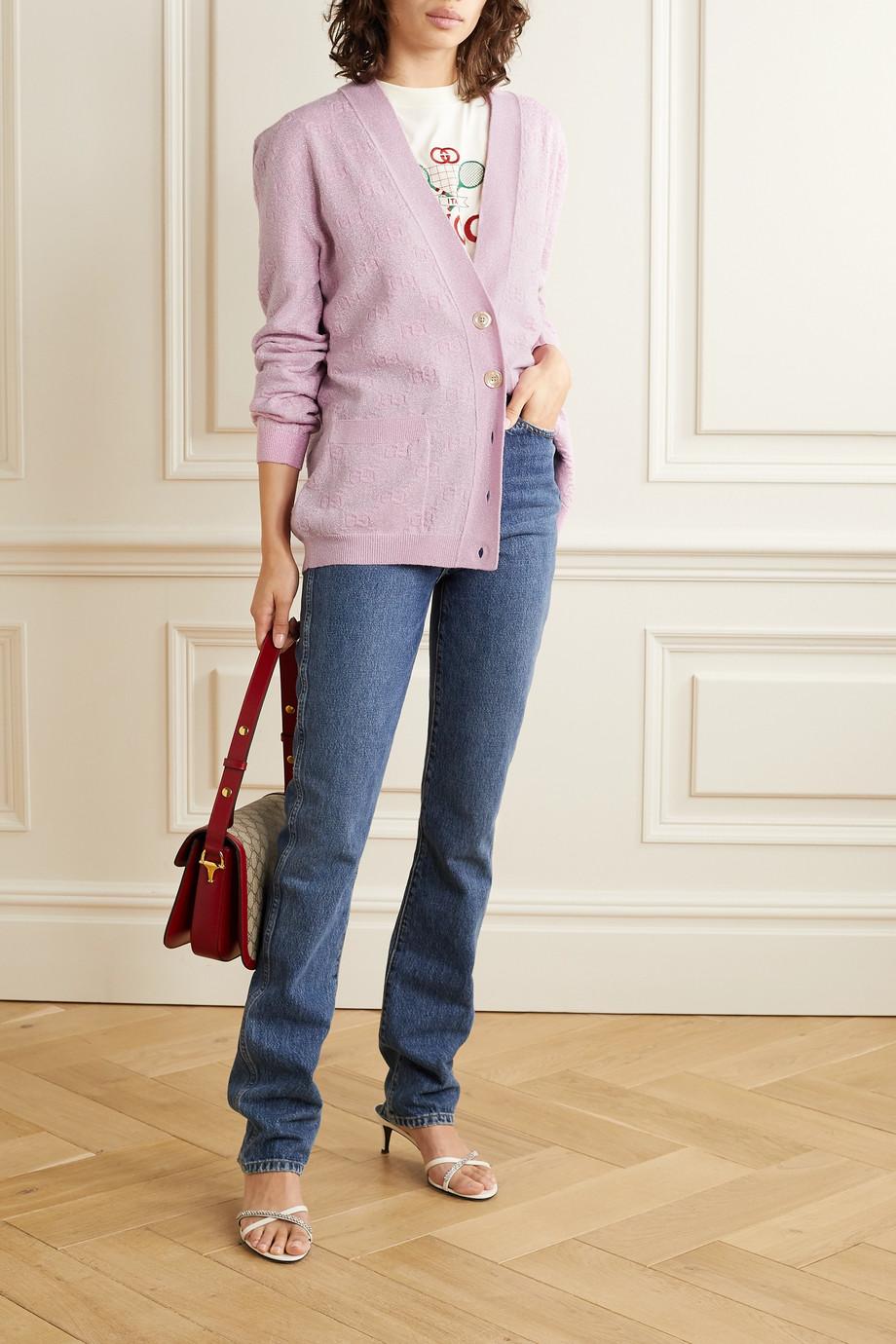 Gucci Metallic wool-blend jacquard cardigan
