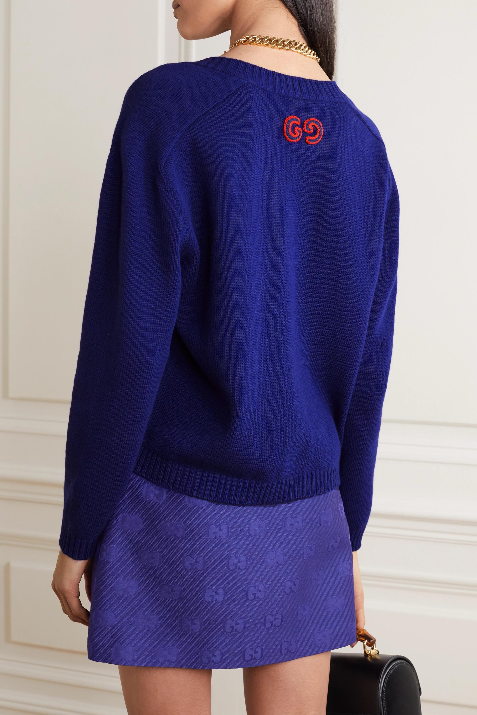 Gucci Appliquéd cable-knit wool cardigan