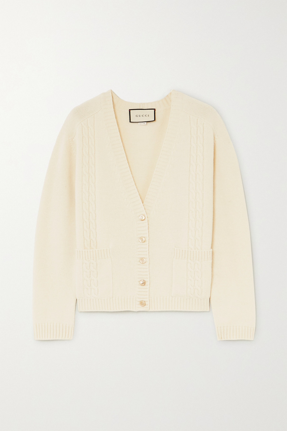 Gucci Embroidered cable-knit wool cardigan