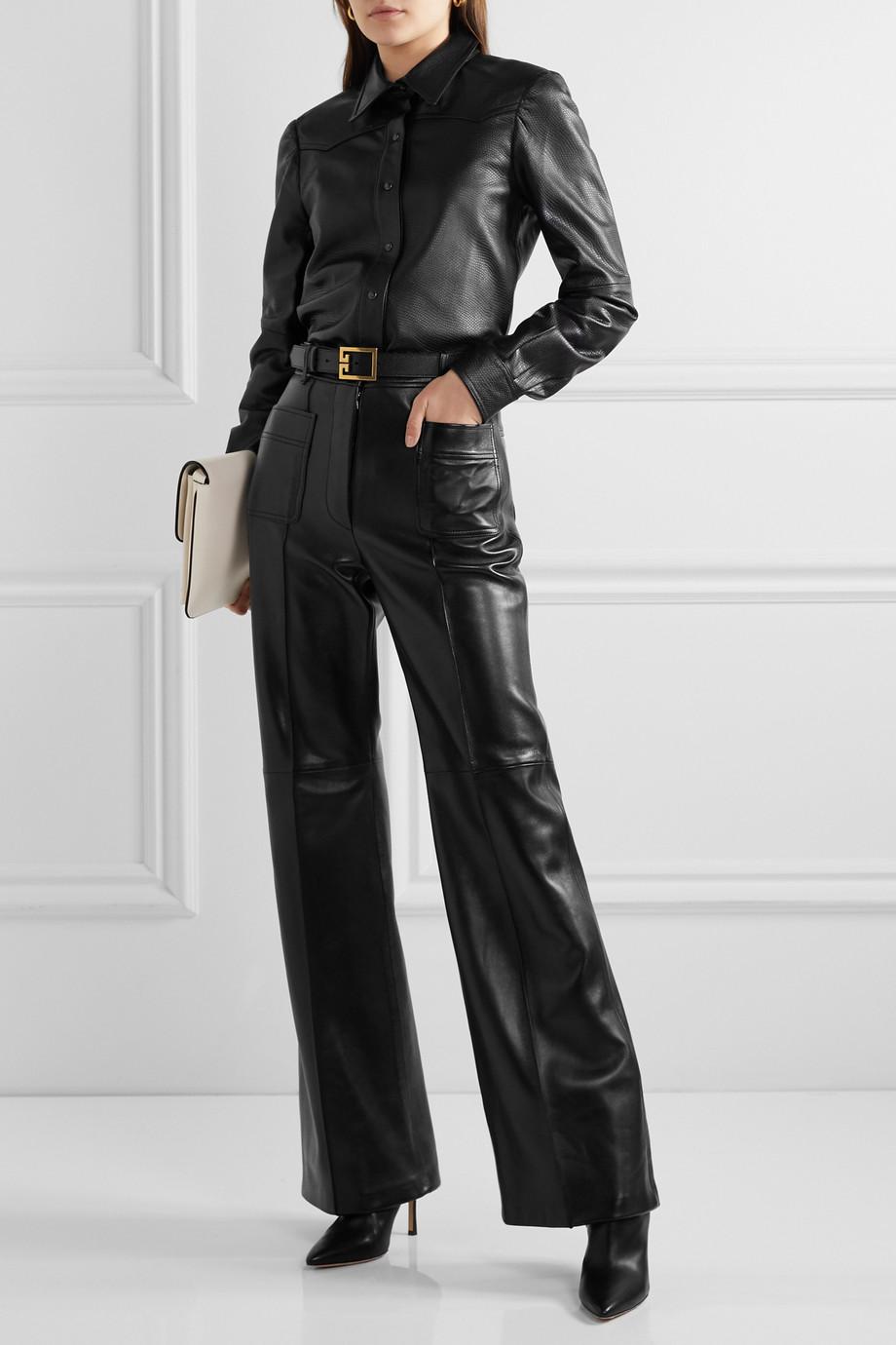Gucci Paneled leather wide-leg pants
